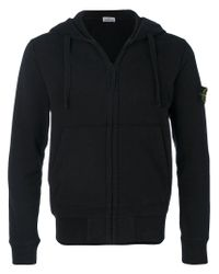 Stone Island - Black Zipped Hoodie for Men - Lyst
