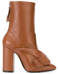 N°21 - Brown Bow Embellished Boots - Lyst