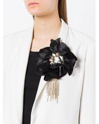 Lanvin - Black Floral Brooch - Lyst