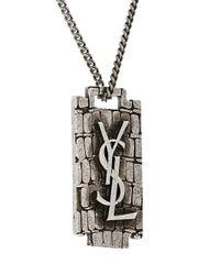 Saint Laurent - Metallic Monogram Charm Necklace - Lyst