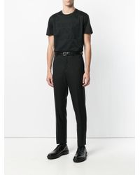 Emporio Armani - Black T-shirt Con Logo Ricamato for Men - Lyst