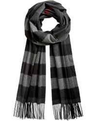 Burberry - Black Checked Scarf for Men - Lyst