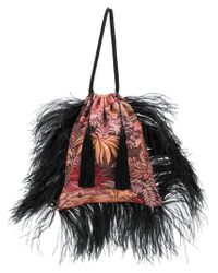 Attico - Black Feathered Jacquard Pouch Bag - Lyst