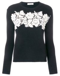Valentino - Black Floral Lace Embroidered Sweater - Lyst