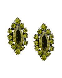Rada' - Green Embellished Stud Earrings - Lyst