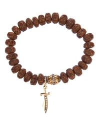Loree Rodkin | Brown Carved Wood Beaded Diamond Bracelet | Lyst