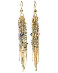 Natasha Collis | Multicolor 18kt Yellow Gold Fringe 'treasure' Earrings | Lyst