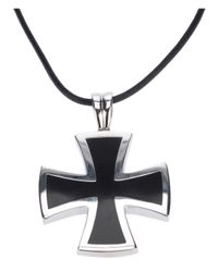 Gavello | Metallic 'black Essenses' Cross Pendant Necklace | Lyst