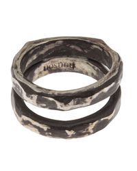 Henson - Metallic Carved Double Ring - Lyst