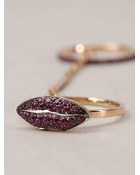 Delfina Delettrez - Metallic 'two In One' Ruby Lips Ring - Lyst