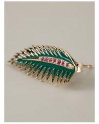 Alison Lou - Green Palm Leaf Earring - Lyst
