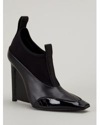 Balenciaga - Black Leather Wedge Ankle Boots - Lyst