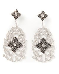 Elise Dray | Metallic Diamond Floral Pavé Earrings | Lyst