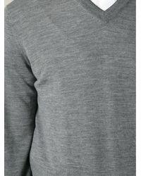 Brunello Cucinelli - Gray V-neck Sweater for Men - Lyst