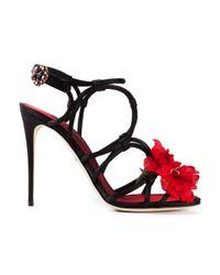Dolce & Gabbana | Black Flower Strappy Sandals | Lyst