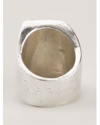 Henson - Metallic Angled Rectangular Ring - Lyst