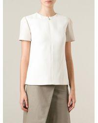 Jason Wu - White - Front Zip Panelled Blouse - Women - Cotton/leather/polyamide/viscose - 6 - Lyst