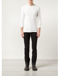RRL - White Ribbed Henley T-shirt for Men - Lyst