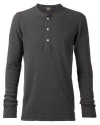 RRL - Gray Ribbed Henley T-shirt for Men - Lyst