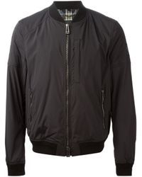 Belstaff | Black Mortimer Shearling Collar Bomber Jacket for Men | Lyst