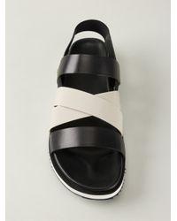 Moncler - Black Strappy Flat Sandals - Lyst