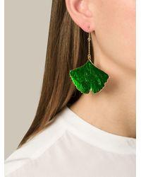Aurelie Bidermann | Green 'ginkgo' Earrings | Lyst