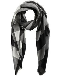 Burberry - Black Lightweight Check Cashmere Scarf - Lyst