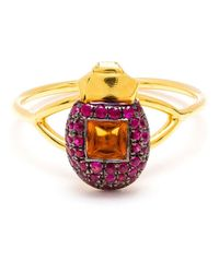 Daniela Villegas | Metallic Ruby And Citrine Beetle Ring | Lyst