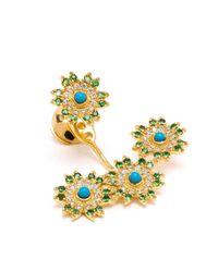 Yvonne Léon - Blue Yvonne Léon 18kt Gold Triple Flower Lobe Earring - Lyst