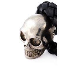 Alexander McQueen - Black Woven Skull Bracelet for Men - Lyst