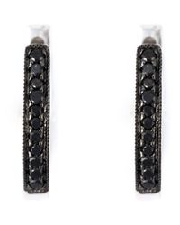 Wouters & Hendrix | Metallic Black Diamond Hoop Earrings | Lyst