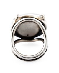 Ann Demeulemeester - Black Diamond Medallion Ring - Lyst