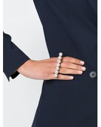Lanvin - Metallic Pearl Double Ring - Lyst