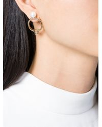 Maison Margiela | Metallic Loop And Pearl Earrings | Lyst