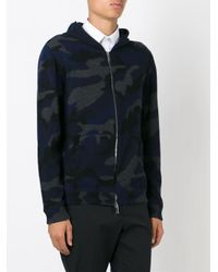 Valentino - Blue Camouflage Knit Hoodie for Men - Lyst