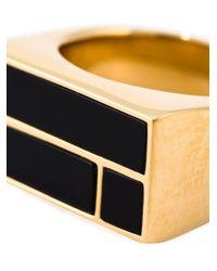 Aurelie Bidermann - Black 18kt Gold Plated 'bianca' Ring - Lyst
