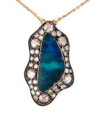 Monan - Blue Aquamarine And Diamond Pendant Necklace - Lyst
