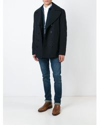 Burberry - Blue Double Breasted Jacket for Men - Lyst