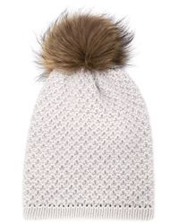 Inverni - Gray Racoon Fur Pompom Beanie - Lyst