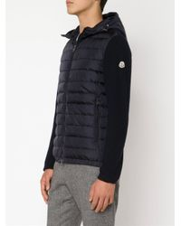 Moncler - Blue Padded Panel Cardigan for Men - Lyst