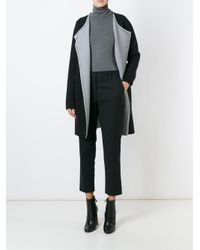 Theory - Gray Knitted Coat - Lyst