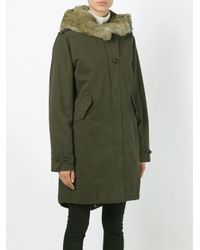 Woolrich - Green Rabbit Fur Collar Parka - Lyst