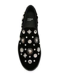 Toga - Black Embellished Slip-on Sneakers - Lyst