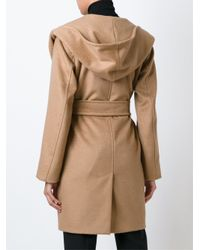 Max Mara - Brown Hooded Wrap Coat - Lyst