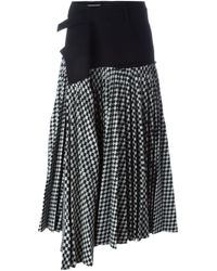 Haider Ackermann | Black Asymmetric Checked Midi Skirt | Lyst
