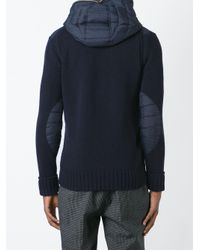 Duvetica - Blue Paneled Padded And Knitted Hooded Jacket for Men - Lyst