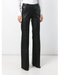 Stouls - Black Flared Leather Trousers - Lyst
