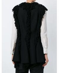 Lanvin - Black Fringed Wool-Blend Vest  - Lyst