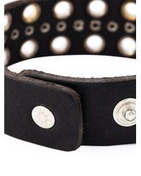DIESEL - Black Eyelet Embellished Bracelet - Lyst