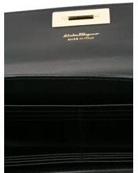 Ferragamo - Black Gancio Flap Clutch - Lyst